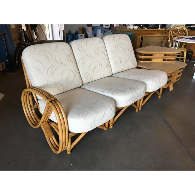 Restored 3/4 Round Pretzel Rattan Three Seater Sofa With Two Tier Table For Sale - Image 4 of 11