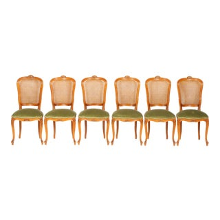 Mid-Century French Louis XVI-Style Dining Room Chairs Featuring Cane Backs and Green Velvet Upholstery S/6 For Sale