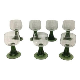 Vintage Green Ribbed Goblet Glasses - Set of 7 For Sale