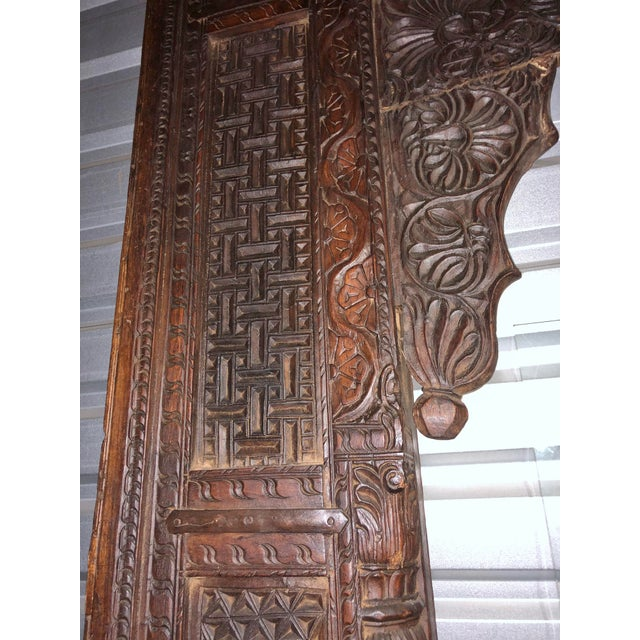 Brown Antique Indian Carved Welcome Gate Teak Arch For Sale - Image 8 of 12