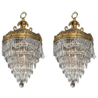 Pair of Bronze & Crystal Drop Chandeliers For Sale