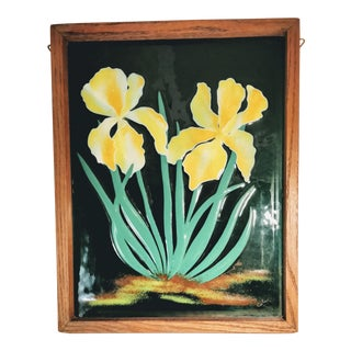Late 20th Century Vintage Fused Enameled Glass Framed Window For Sale