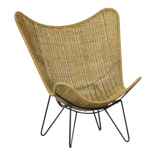 Rattan & Iron Scoop Chair For Sale