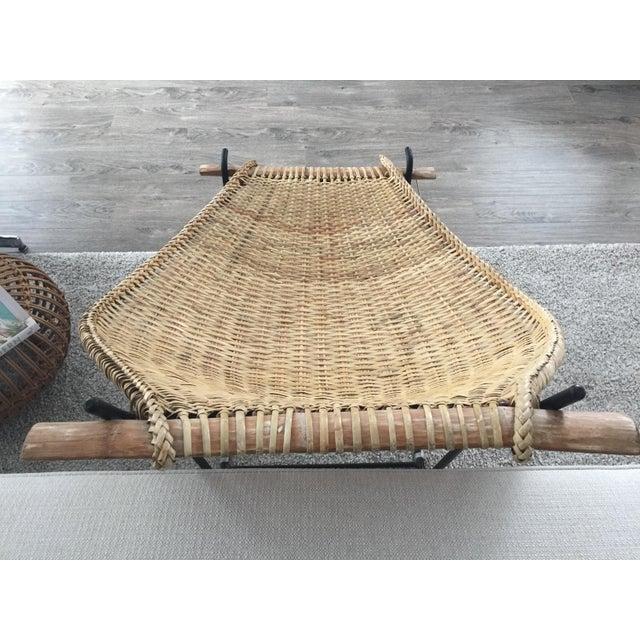 Iron Vintage Mid Century John Risley Rattan & Iron Lounge Chair For Sale - Image 7 of 12