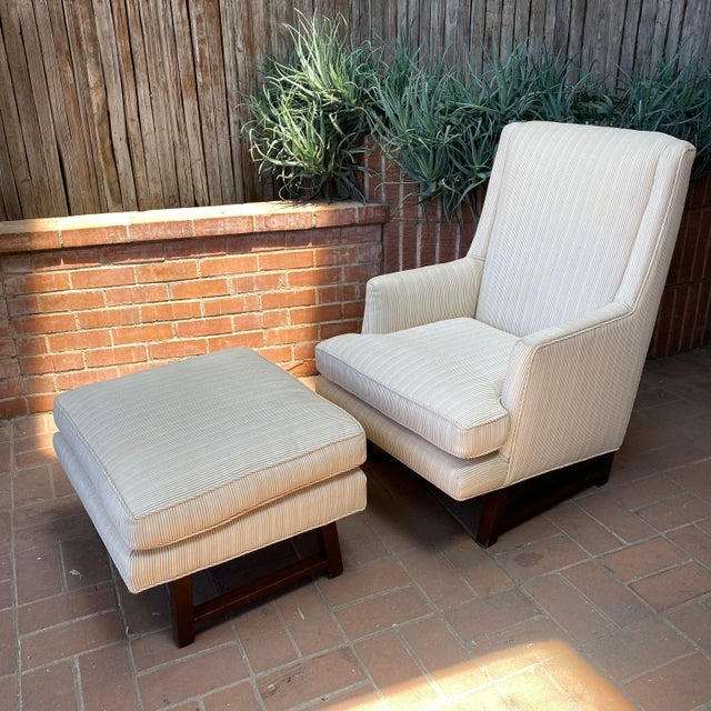 Wood 1960s Edward Wormley for Dunbar Lounge Chair and Ottoman For Sale - Image 7 of 7