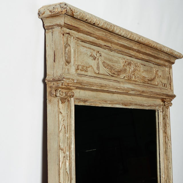 Large Painted Green Gray Mirror With Carved Details For Sale - Image 4 of 8
