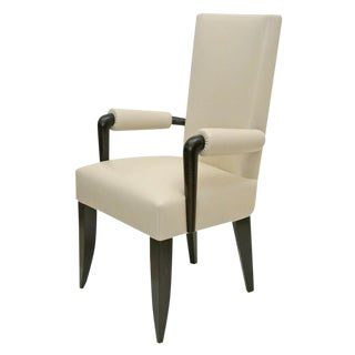 French Beech Wood Desk Chair With Ivory White Leather Upholstery, France, 1930s For Sale