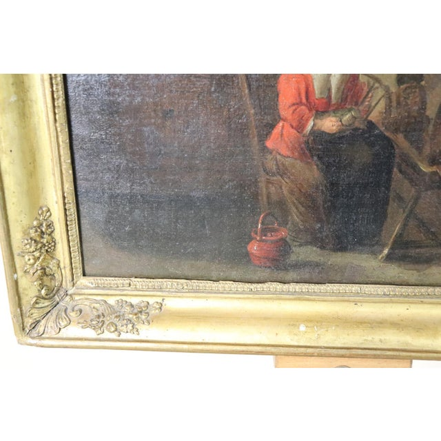18th Century Flemish Oil Painting on Canvas Woman Who Weaves For Sale - Image 9 of 12