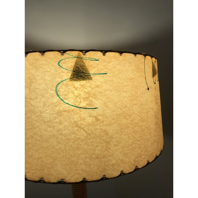 1950s Vintage Midcentury French Rattan Bamboo Floor Lamp with Original Parchment Shade For Sale - Image 10 of 13