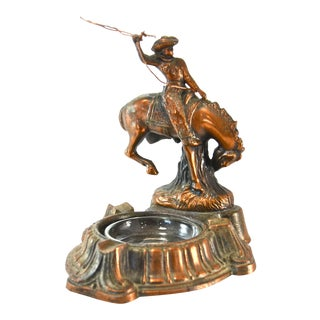 Vintage Copper Bucking Bronco Ashtray Sculpture For Sale