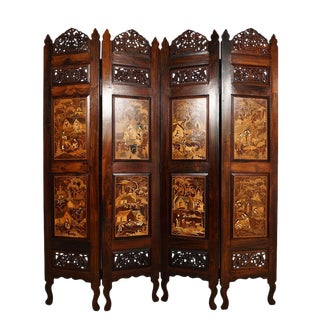 Antique Asian Ornate Rosewood Inlay Room Divider For Sale