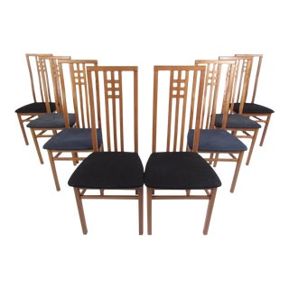 Mid-Century Italian High Back Dining Chairs - Set of 8 For Sale