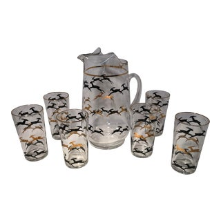 1960s Mid Century Leaping Gazelle Glass Pitchers and Tumblers - Set of 7 For Sale
