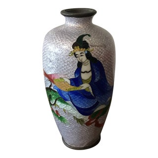 Chinese Cloisonné Dragon Silver Vase For Sale