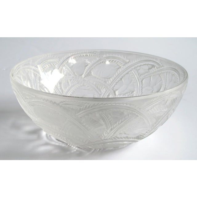 finely molded with small finches nesting in stylized brambles; etched in script 'Lalique France'