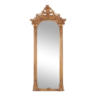 Gilt Floor-Length Mirror, 1800s For Sale