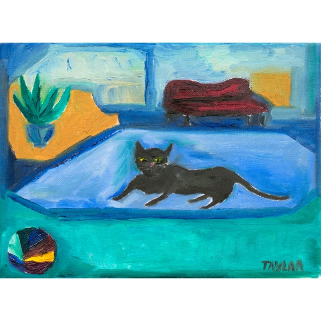 Interior With Black Cat Painting - Image 1 of 4