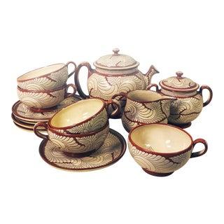 Vintage 1940s Casa Jimenez La Pluma Teapot Creamer Tea Set, Oaxaca Mexico - Set of 13 For Sale