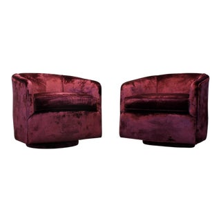 Pair of Milo Baughman Style Swivel Club Chairs in Burgundy Velvet For Sale