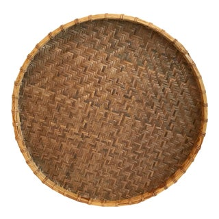 20th Century Boho Chic Large Woven Wall Tray For Sale
