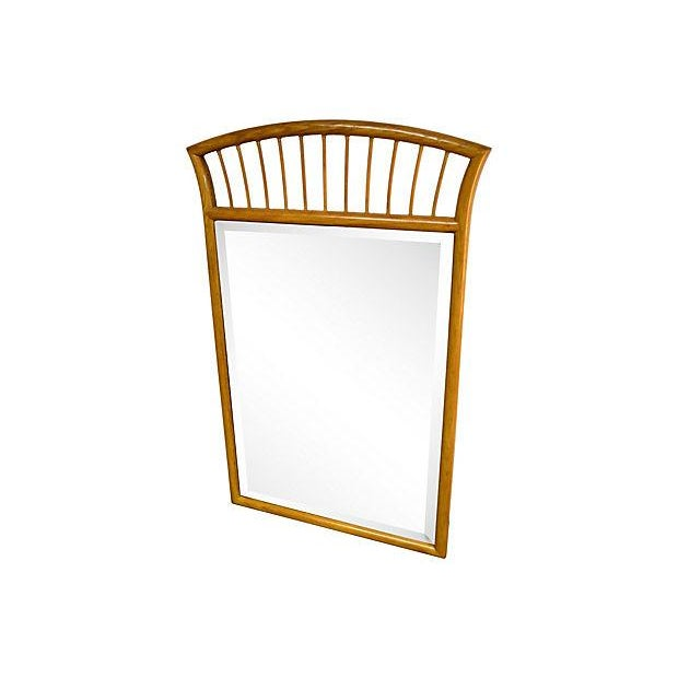 """Solid wood framed mirror with semi-circular crown made with wooden drumstick radial. Frame bottom, 30""""W. Beveled mirror,..."""
