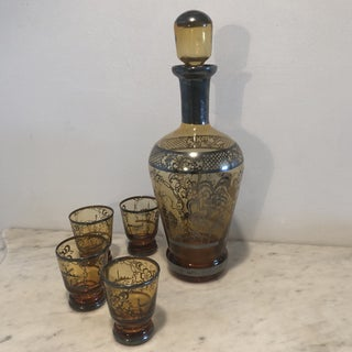 Amber Venetian Glass Cordial Set - 5 Pieces Preview