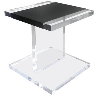 Custom Lucite Side Table With Removable Black Acrylic Sleeve For Sale