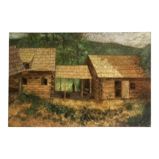 Large Cabin Scene Oil by James Bone 1960 For Sale