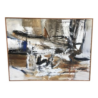 Abstract Walnut Framed Painting on Canvas For Sale