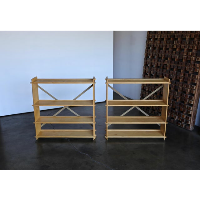 Pair of st Plywood Bookcases Circa 1975 - a Pair For Sale - Image 10 of 13