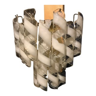 "Mezzega Brass and White Spiral Murano Glass 2 Tiered ""Torciglione"" Sconces - A Pair"