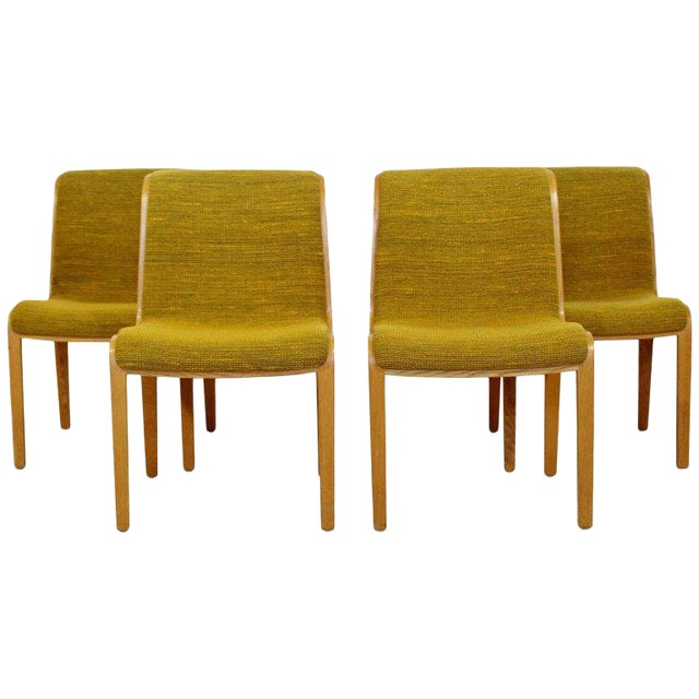 1970s Mid-Century Modern Bill Stephens for Knoll Blonde Wood Side Chairs - Set of 4 For Sale