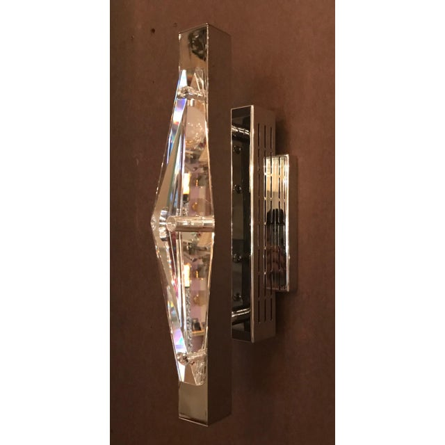 Italian Fabio Ltd Crystal Chrome Sconces / Flush Mounts (Pair Available) For Sale - Image 3 of 8
