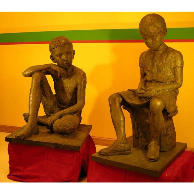1930s French Antique Lifesize Children Sculptures in Bronze Finish - Set of 2 For Sale - Image 4 of 6
