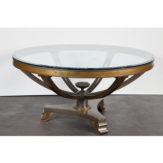 Mid-20th Century Neoclassical Bronze Table with Glass Top