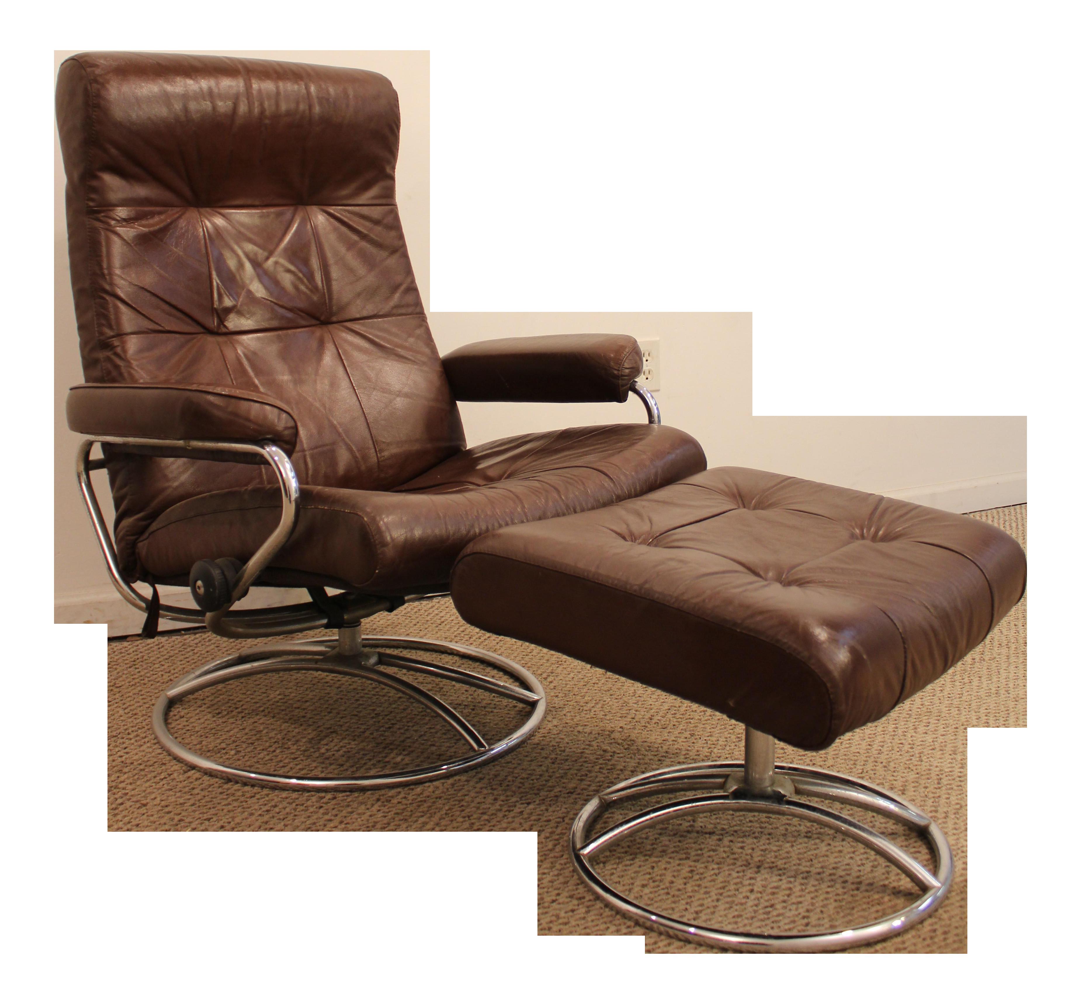 Ekornes Stressless Mid-Century Danish Modern Leather Chrome Recliner Lounge Chair u0026 Ottoman  sc 1 st  Chairish & Ekornes Stressless Mid-Century Danish Modern Leather Chrome Recliner ...