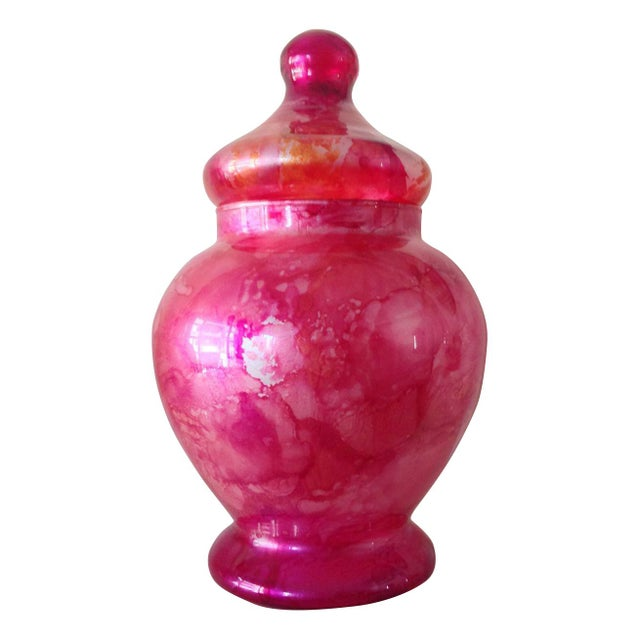 Vibrant Pink Glass Ginger Jar For Sale