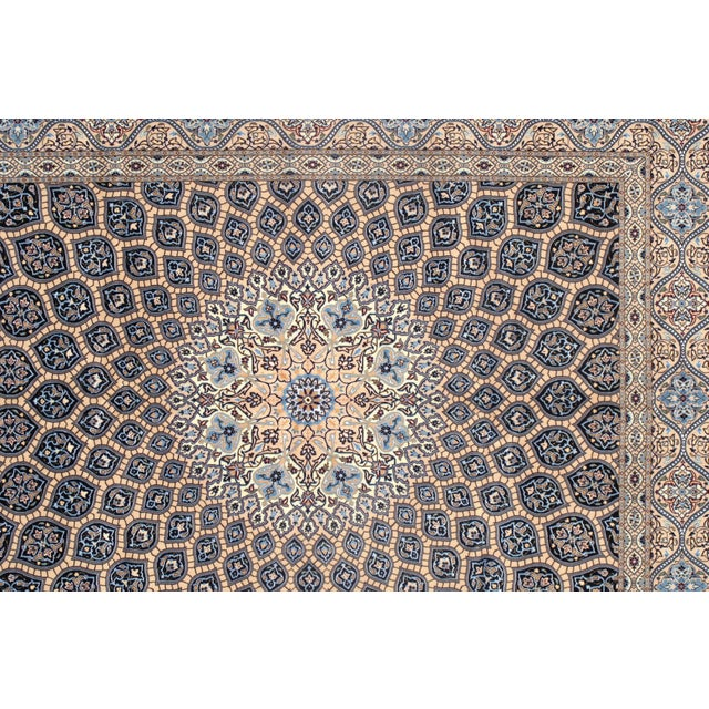"Islamic Pasargad Vintage Persian Nain Silk & Wool Rug - 6'9"" X 8'8"" For Sale - Image 3 of 5"