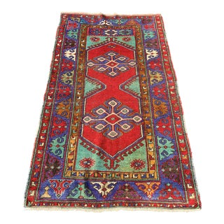1940s Vintage Russian Kazack Rug - 3′3″ × 6′ For Sale