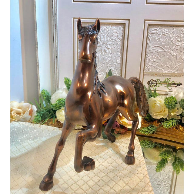 Copper Plated Brass Stallion Horse Figurine For Sale - Image 12 of 13