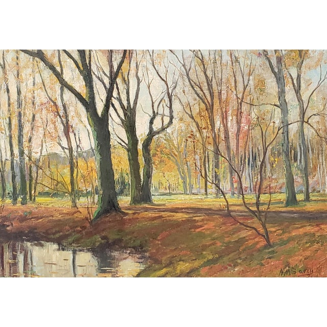 Late 19th Century Lumious Forest Landscape Oil Painting by Hm Savry For Sale In San Francisco - Image 6 of 10