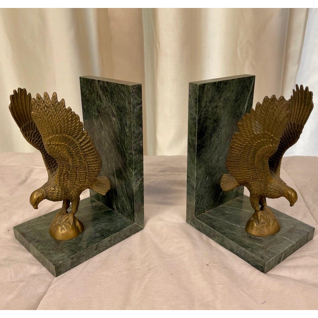 Brass Mid 20th Century Marble & Brass Eagle Bookends - a Pair For Sale - Image 8 of 8