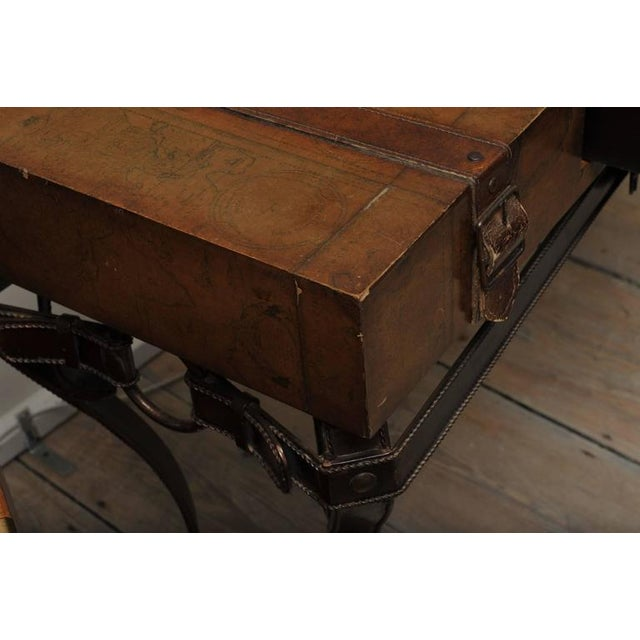 Gold World Map Suitcase Table With Leather Straps and Buckles For Sale - Image 8 of 11