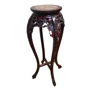 20th Century Chinese Hand Carved Rosewood Marble Top Pedestal Table/Plant Stand For Sale
