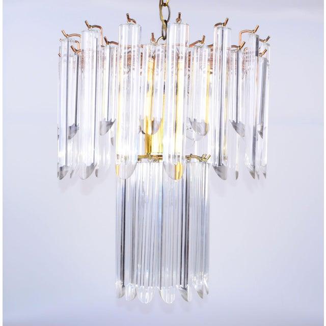 Mid-Century Modern Lucite & Brass Chandelier - Image 2 of 10