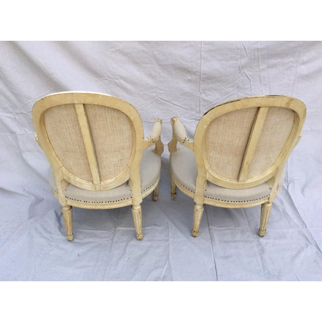 French Vintage French Side Chairs - a Pair For Sale - Image 3 of 9