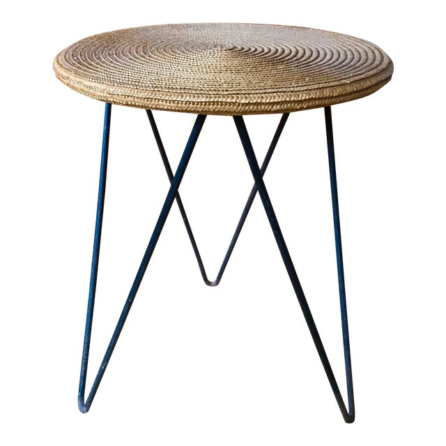 Mid Century Woven Accent Table For Sale