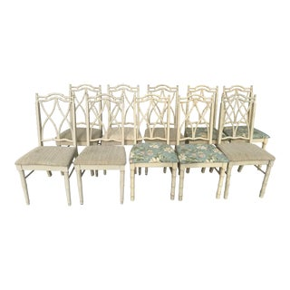 Vintage Thomasville Faux Bamboo Chinoiserie Hollywood Regency Chairs - Set of 10 For Sale