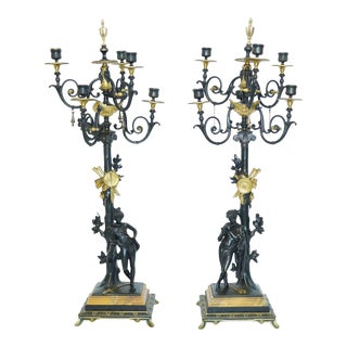 Neoclassical Bronze Two-Tone Figural Candelabra - A Pair For Sale