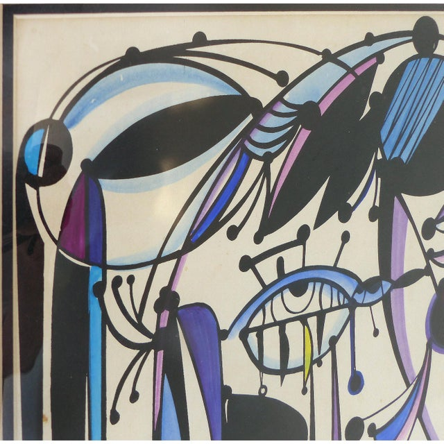 1970 Abstract Lithograph by Cuban-American Artist Jose Maria Mijares For Sale - Image 4 of 8